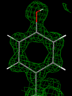 Snapshot of 1.0 Å electron density map at 1 sigma, displayed in Jmol. Interactive Version
