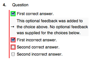 Feedback Coloring and Optional Feedback Text